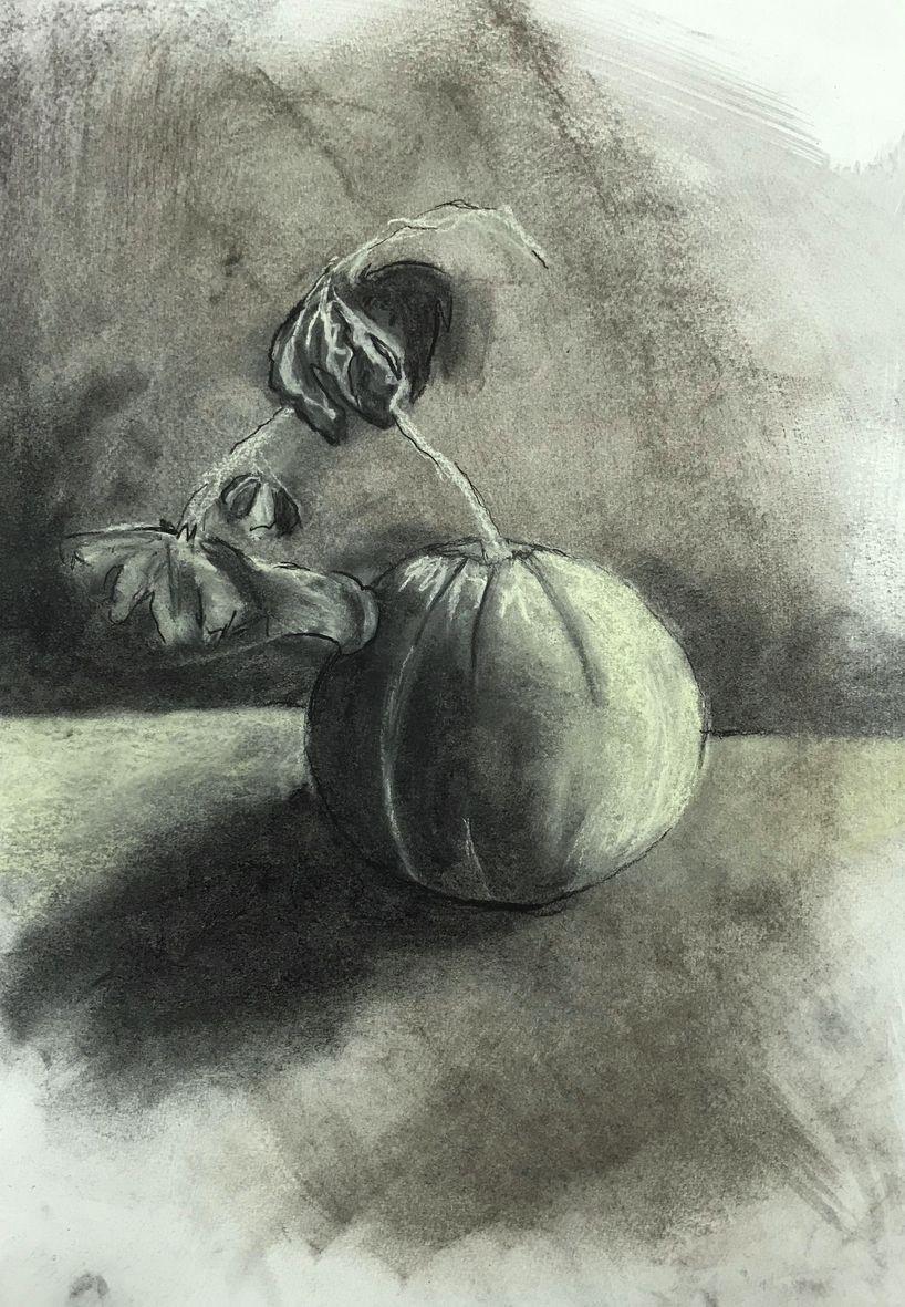 Ce cile melon fusain mouille et pastel sec 10 10 2020