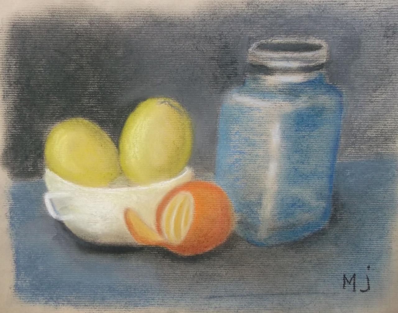 Marie-J0 citrons mandarine et bocal Pastel sec octobre 2017 (1)