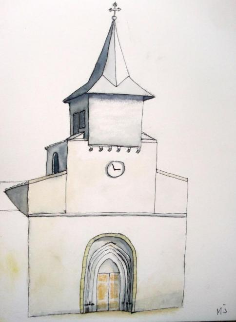 Marie-Jo clocher villefranche aquarelle 07-11-2017