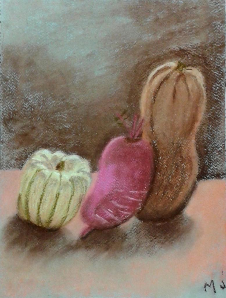Marie-Jo courges et radis pastel sec 29-10-2016
