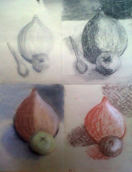 Marie-Jo crayon, fusain, pastel sec et sanguine 12 -2013 et 01-2014
