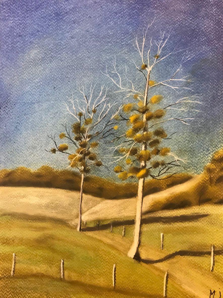 Marie-Jo les 2 arbres pastel sec 01-2020