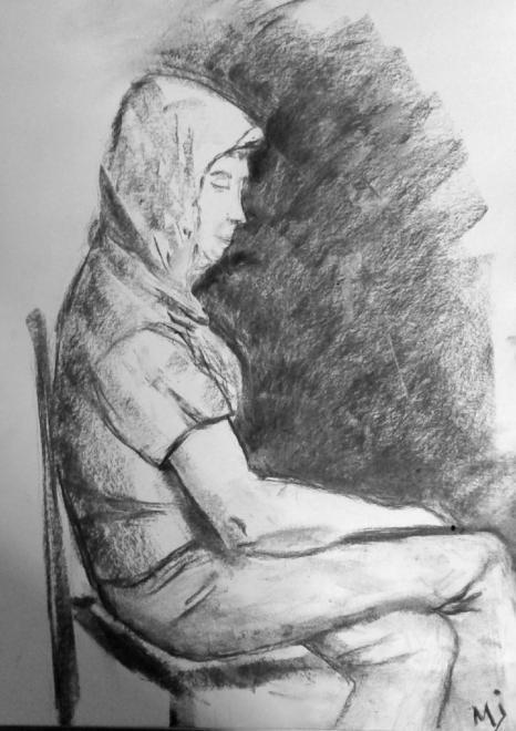 Marie-Jo portrait fusain 25-03-2017