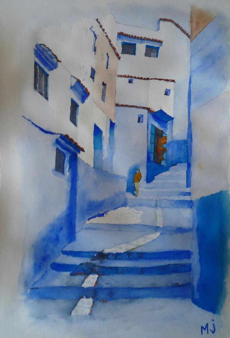 Marie jo rue marocaine aquarelle 06 2020
