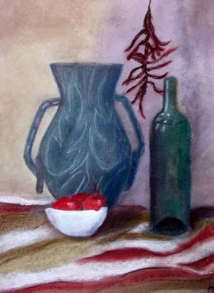 Marie-Jo tomates et vase Pastel sec décembre 2016