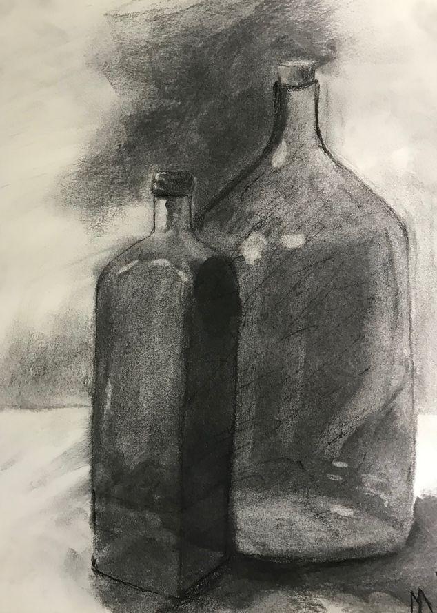 MarieJo les bouteilles fusain O1-10-2019