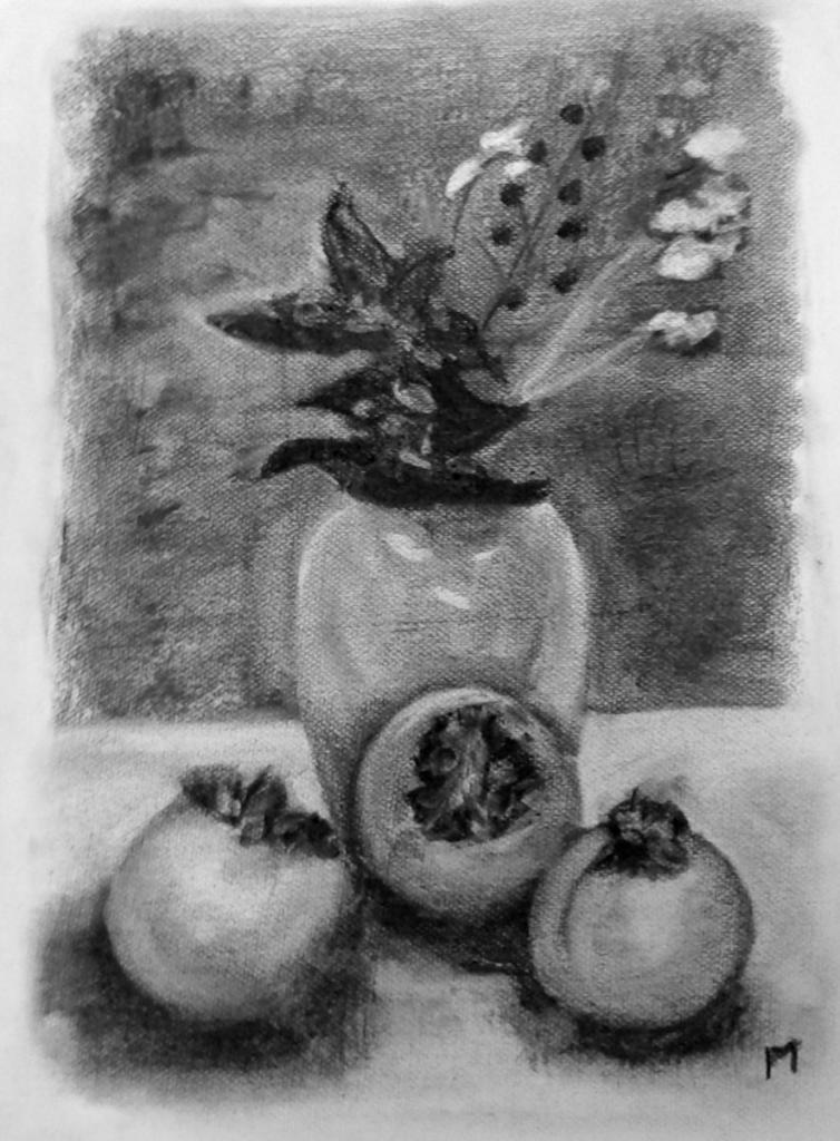 Martine bouquet et kakis fusain 09-01-2016