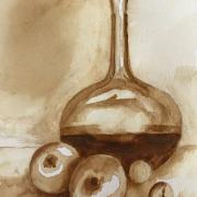 Martine bouteille et pommes aquarelle au cafe 08 2020