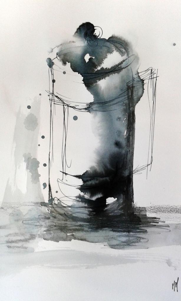 Martine, cafetière, encre et crayon aquarellable 10-01-2015