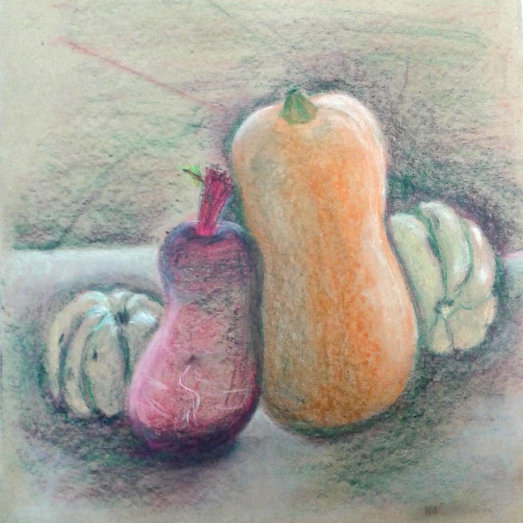 Martine courges et radis pastel sec 12-11-2016