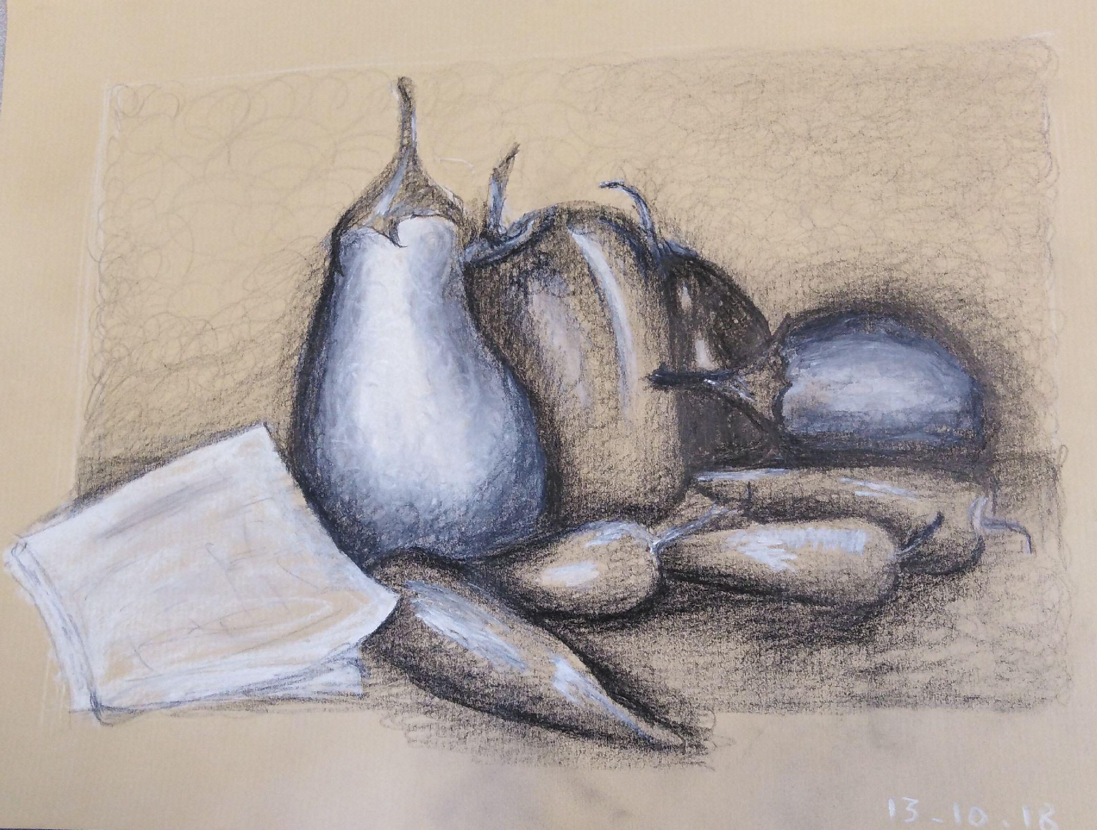Martine derniers légumes d'été pierre noire et pastel 13-10-2018