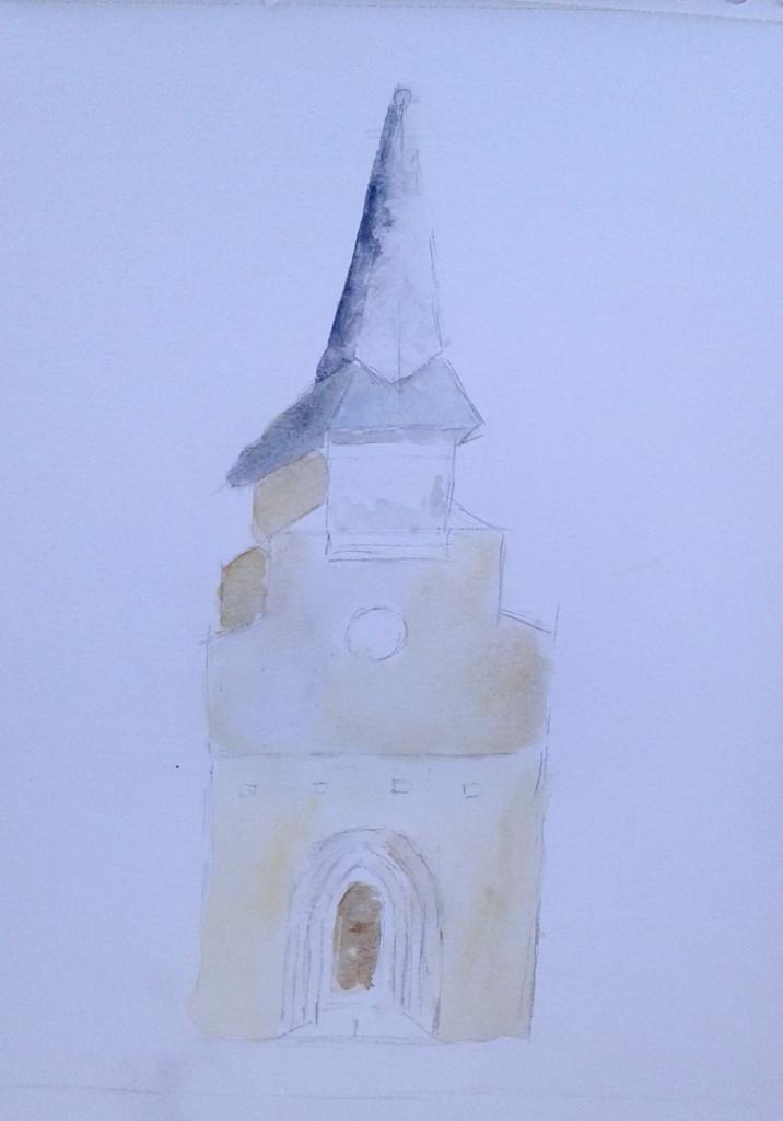 Michèle clocher villefranche aquarelle 07-11-2017
