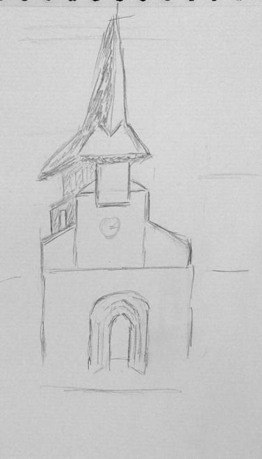 Michèle clocher villefranche crayon 07-11-2017