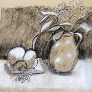 Michelle vase bouquet et pommes pierre noire et pastel 20-10-2018