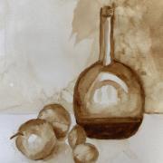 Monique bouteille et pommes aquarelle au cafe 08 2020