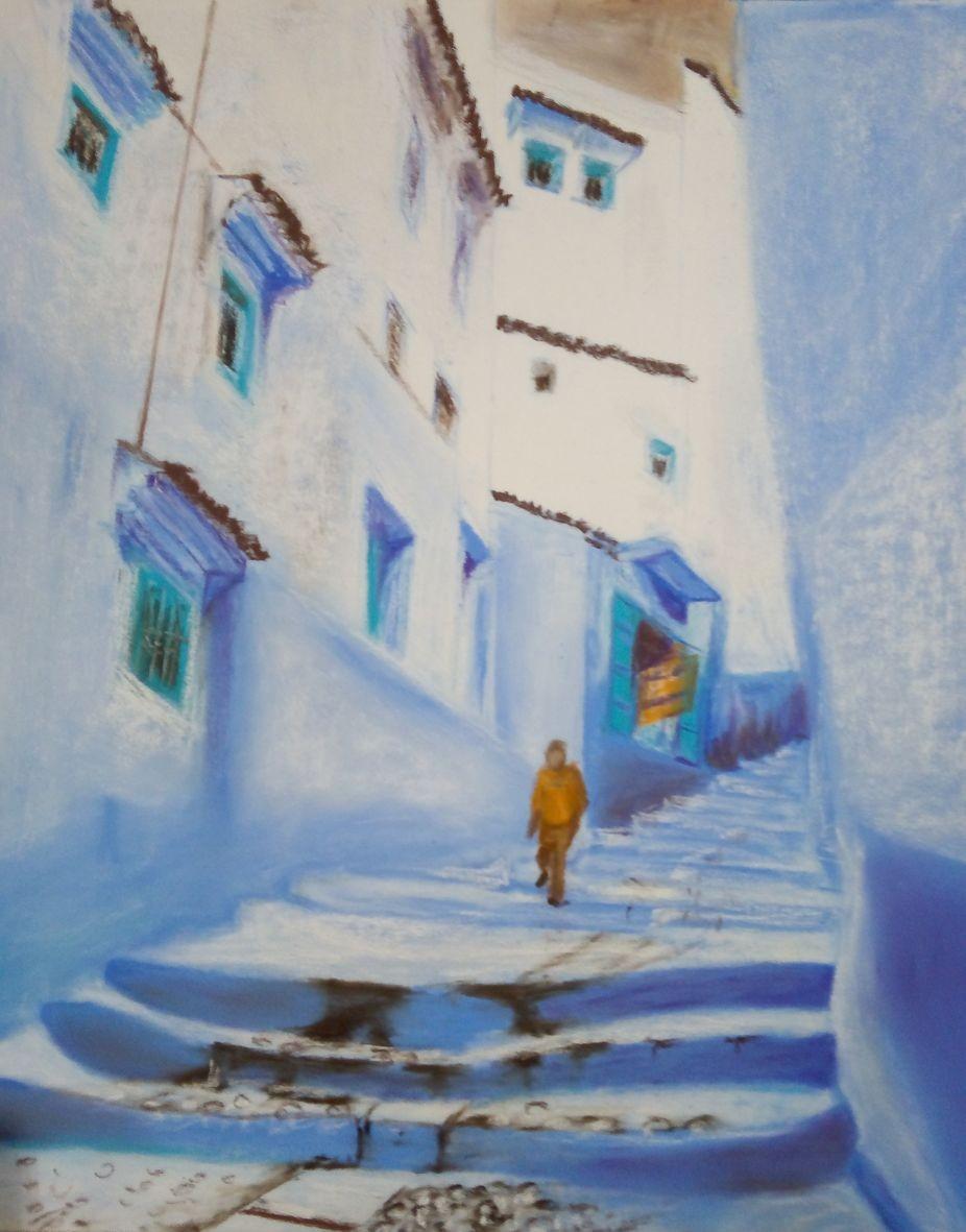 Monique rue marocaine pastel sec 06 2020