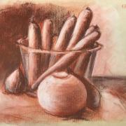 Nicole carottes et saladier sanguine 19-12019