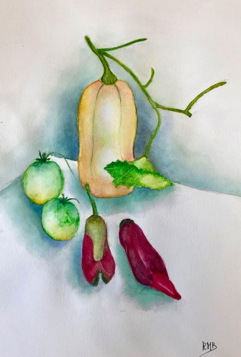 Rose marie butternut et le gumes d e te aquarelle 03 2021