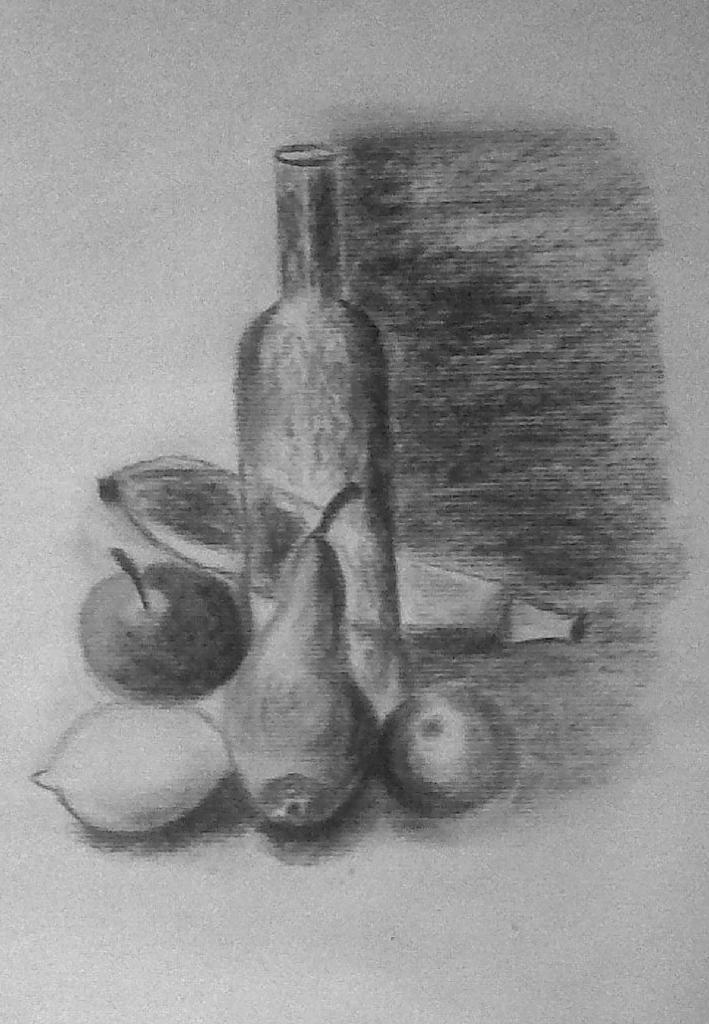 Rose-Marie fruits et bouteille fusain 16-11-2013