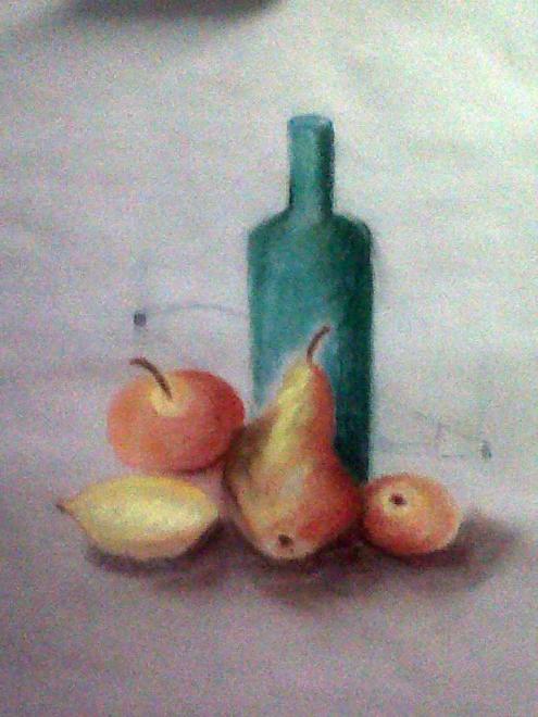Rose-Marie fruits et bouteille pastel sec 23-11-2013