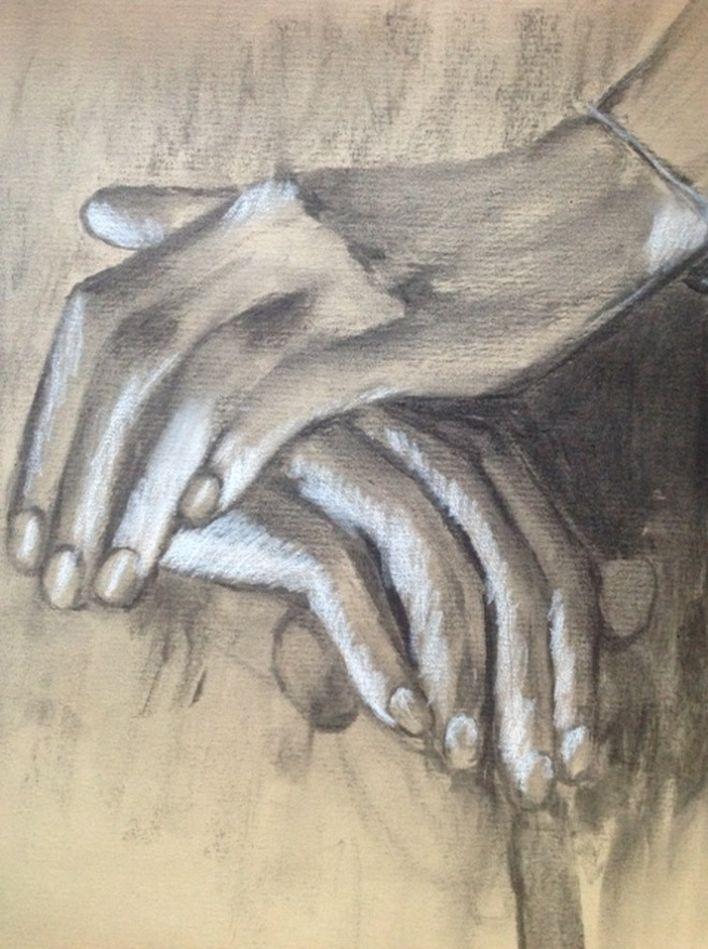 Rose-Marie mains fusain et pastel 2019