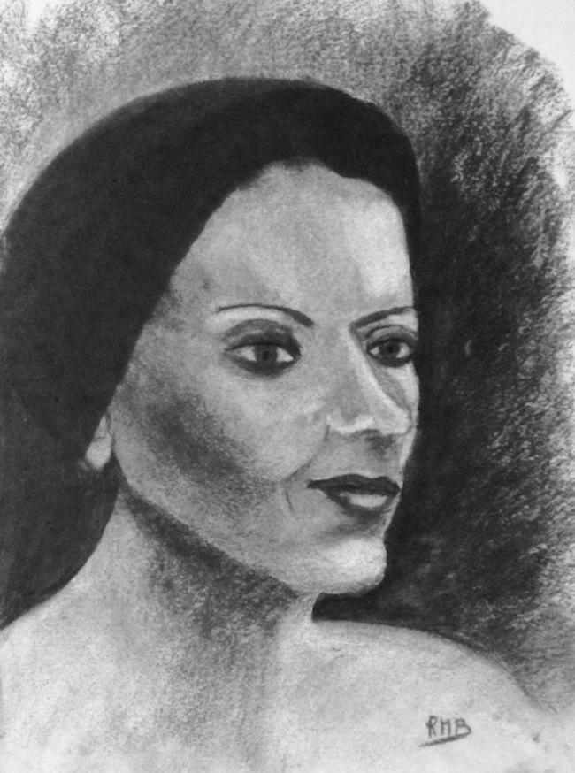 Rose-Marie portrait fusain 15-12-2018