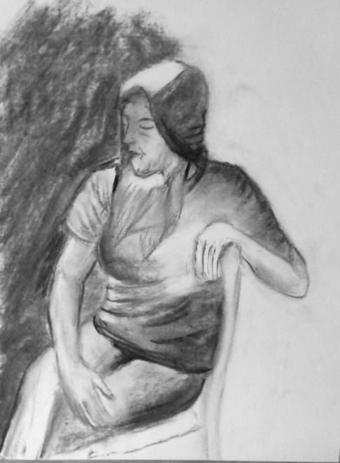 Rose-Marie portrait fusain 25-03-2017