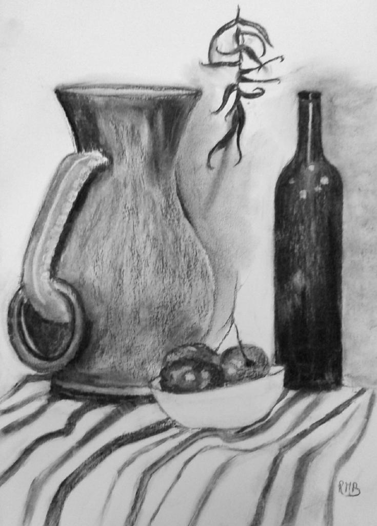 Rose-Marie vase et tomates fusain 07-01-2017